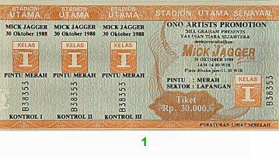 Mick Jagger1980s Ticket