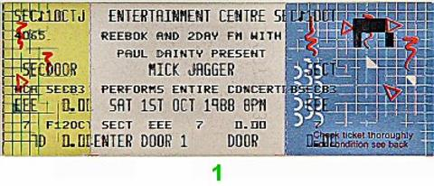 Mick Jagger Vintage Ticket