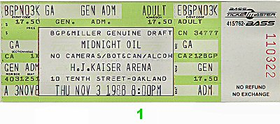 Midnight Oil 1980s Ticket