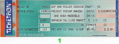 Miriam Makeba 1980s Ticket