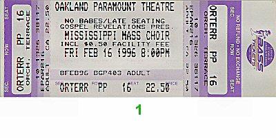 Mississippi Mass Choir1990s Ticket