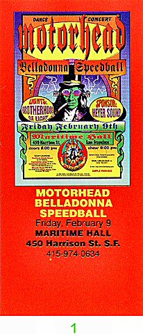 Motorhead 1990s Ticket