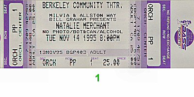 Natalie Merchant 1990s Ticket