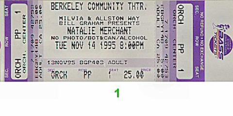 Natalie Merchant Vintage Ticket