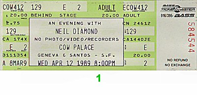 Neil Diamond 1980s Ticket