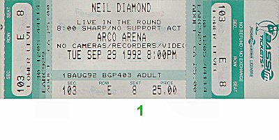 Neil Diamond 1990s Ticket