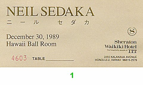 Neil Sedaka 1980s Ticket