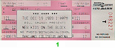 New Kids On The Block 1980s Ticket