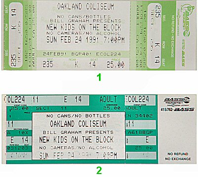 New Kids On The Block 1990s Ticket