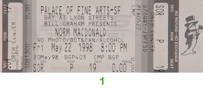 Norm MacDonald 1990s Ticket