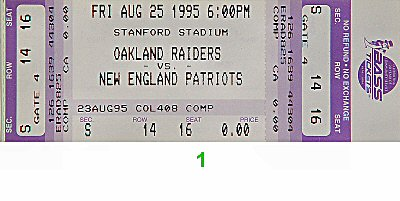 Oakland Raiders vs. New England Patriots 1990s Ticket