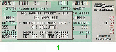 Oh Calcutta 1990s Ticket
