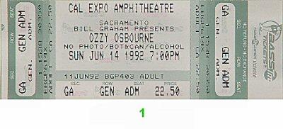 Ozzy Osbourne1990s Ticket