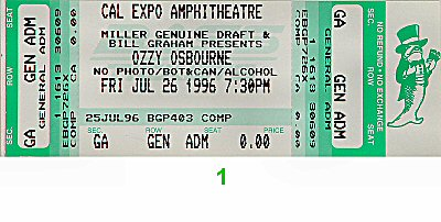 Ozzy Osbourne 1990s Ticket