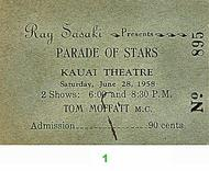Parade of Stars Pre 1960s Ticket