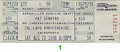 Pat Benatar 1980s Ticket