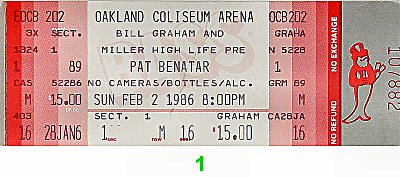Pat Benatar1980s Ticket