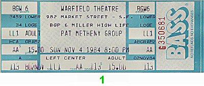 Pat Metheny Group1980s Ticket
