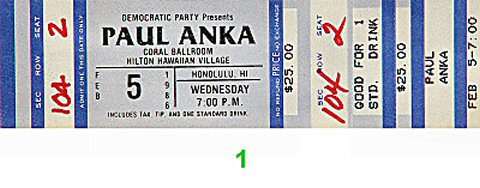 Paul Anka 1980s Ticket