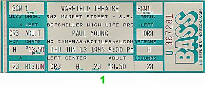 Paul Young and the Royal Family1980s Ticket