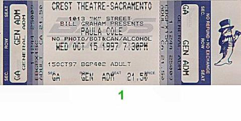 Paula Cole Vintage Ticket