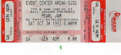 Pearl Jam1990s Ticket