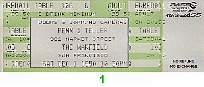 Penn and Teller 1990s Ticket