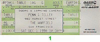 Penn and Teller1990s Ticket