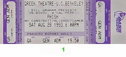Phish Vintage Ticket