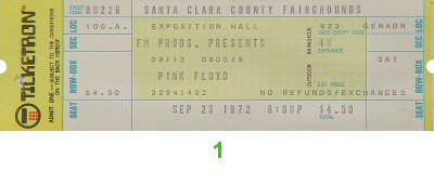 Pink Floyd1970s Ticket