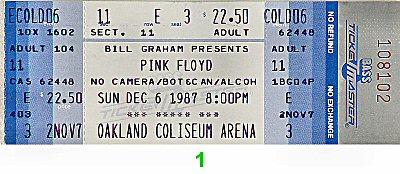 Pink Floyd1980s Ticket