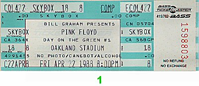 Pink Floyd1980s Ticket