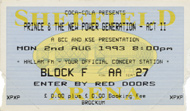 Prince & the New Power Generation 1990s Ticket