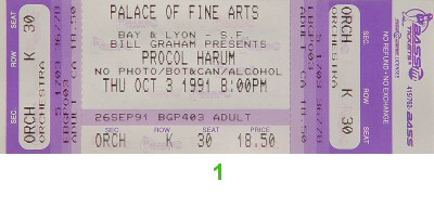 Procol Harum 1990s Ticket