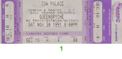 Queensryche 1990s Ticket