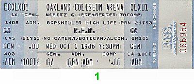 R.E.M.1980s Ticket