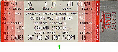 Raiders-Steelers 1980s Ticket