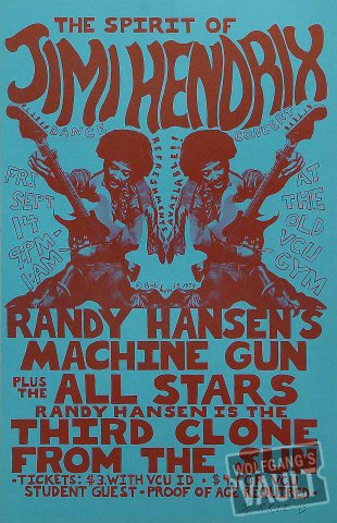 Randy Hansen's Machine Gun Poster