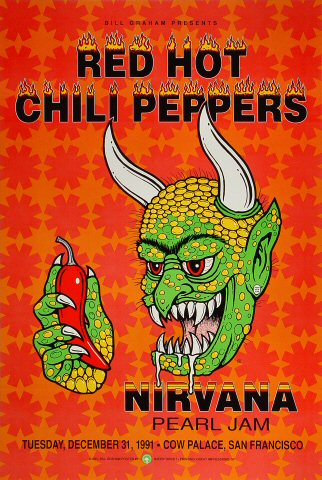 Red Hot Chili Peppers Poster Cow Palace San Francisco Ca