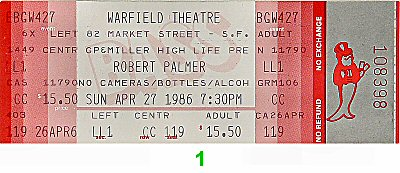 Robert Palmer 1980s Ticket
