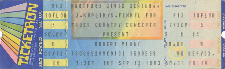 Robert Plant1980s Ticket