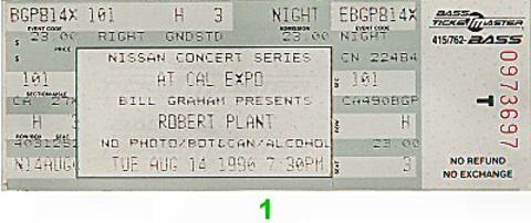 Robert Plant Vintage Ticket