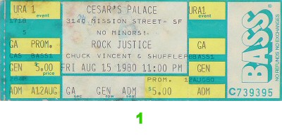 Rock Justice 1980s Ticket