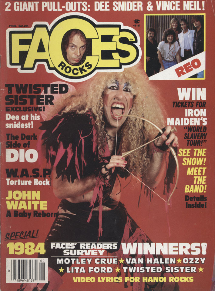 Faces rocks magazine : Dee Snyder of Twisted Sister (Feb.1985)dio,wasp,maiden