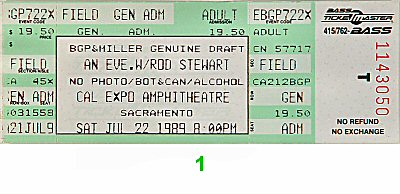 Rod Stewart 1980s Ticket