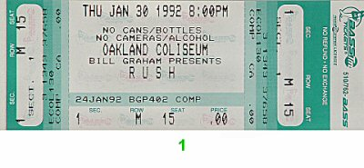 Rush 1990s Ticket