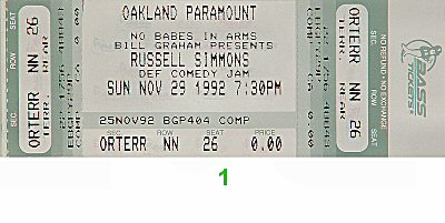Russell Simmons' Def Comedy Jam 1990s Ticket