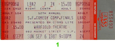 San Francisco Comedy Competition 1980s Ticket