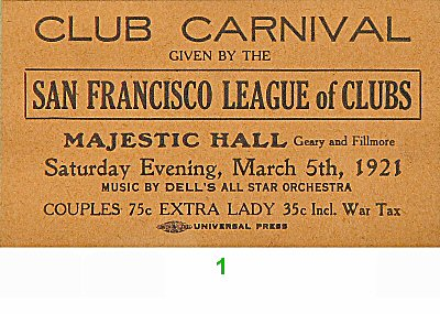 San Francisco League of Clubs Pre 1960s Ticket