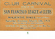 San Francisco League of Clubs Vintage Ticket